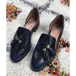 Jeffrey Campbell Blue Black D'Orsay Leather Flats